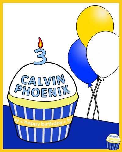 Calvin's 3rd birthday remembrance cupcake