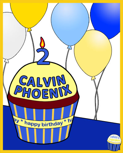 Calvin's 2nd birthday remembrance cupcake