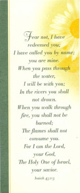 Bookmark of Isaiah 43:2 from Father Miguel