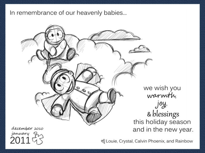 2011 holiday card with drawing of Calvin and Rainbow making a cloud angel