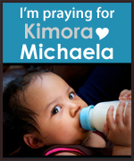 Kimora Michaela prayer button blue