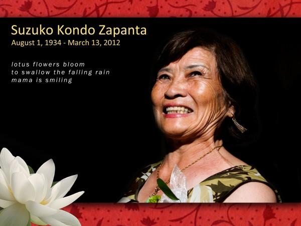 Suzuko Kondo Zapanta (08.01.1934 - 03.13.2012)