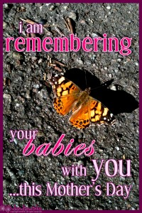 I am remembering your babies with you this Mothers Day.