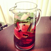 Pitcher of Watermelon, Blueberry, Mint Water