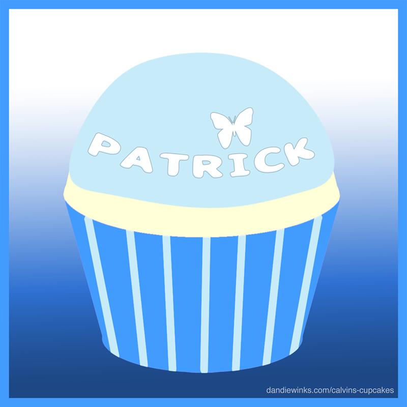 Patrick's birthday remembrance cupcake