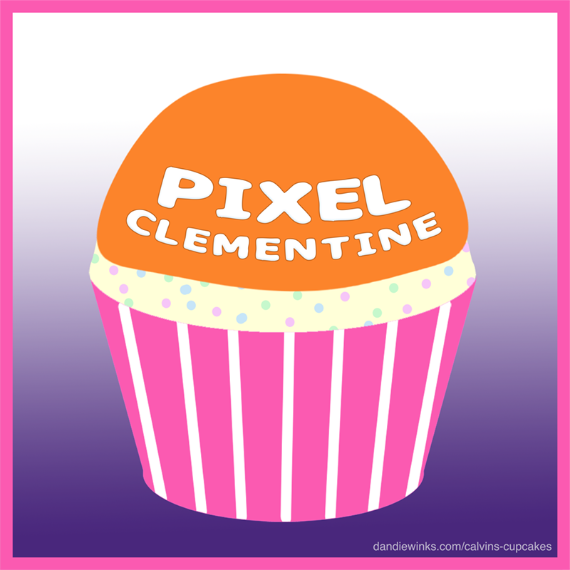 Pixel Clementine's 1st heavenly birthday remembrance cupcake