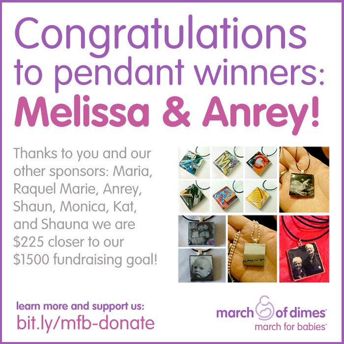 March for Babies Pendant Winners