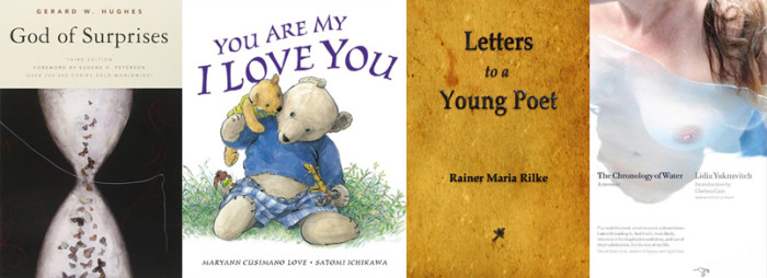 God of Surprises, You are my I Love You, Letters to a Young Poet, and The Chronology of Water book covers