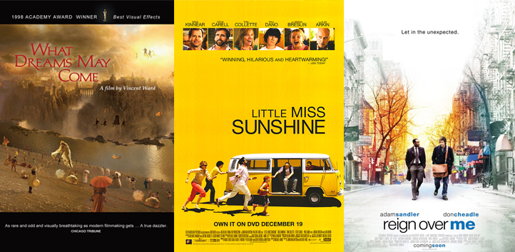 "Movie posters for ""What Dreams May Come,"" 'Little Miss Sunshine,"" and ""Reign Over Me"""