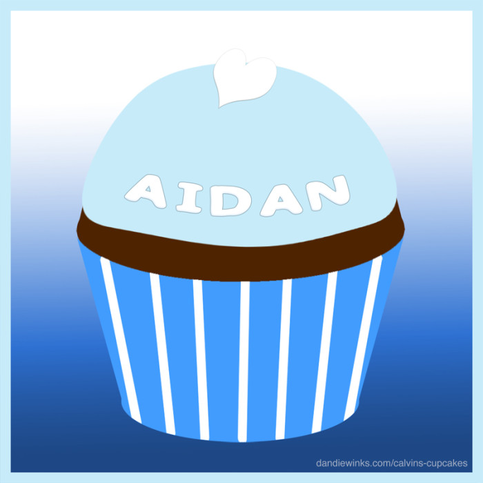 Aidan's 2nd birthday remembrance cupcake