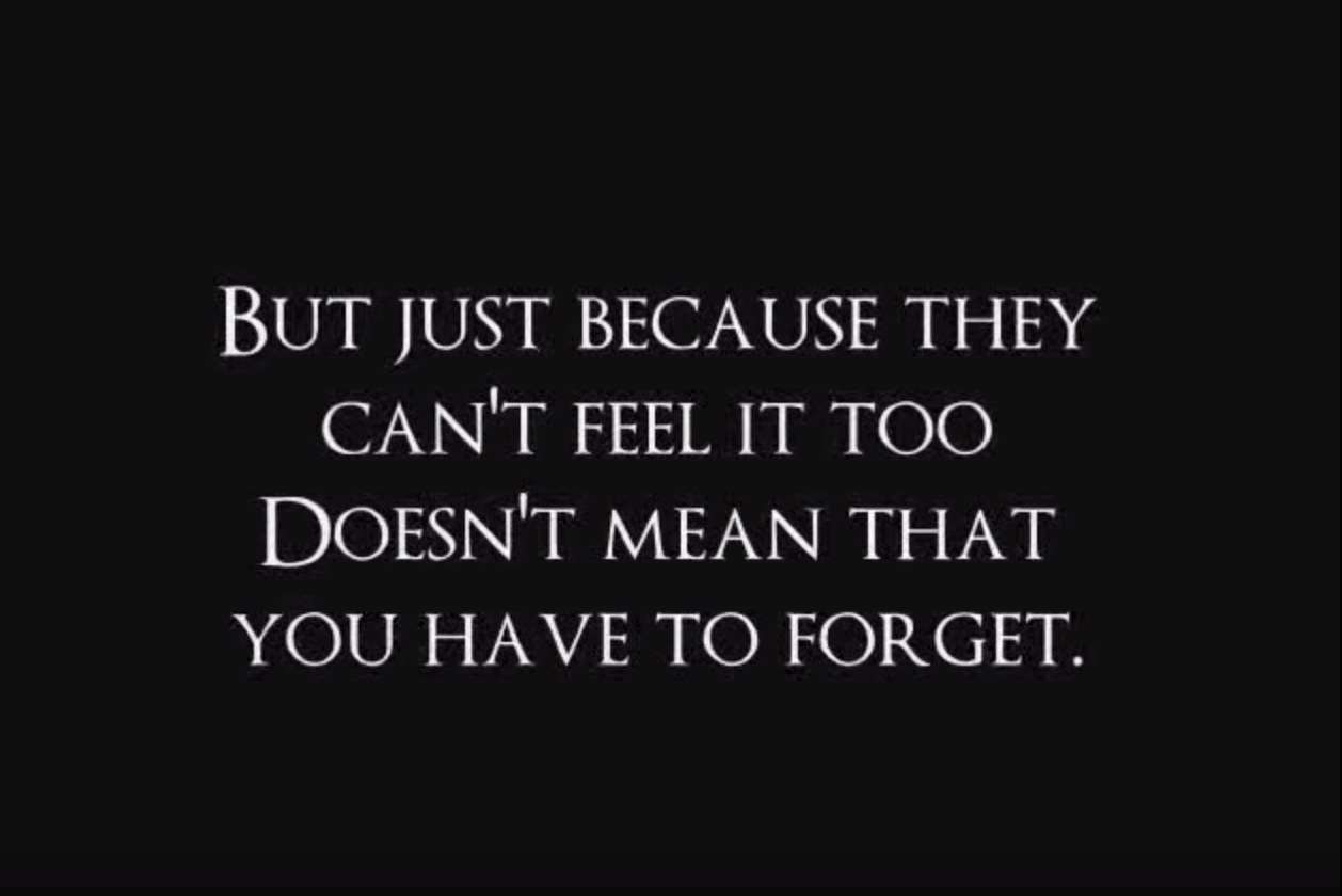 """But just because they can't feel it, too, doesn't mean that you have to forget"" (from ""The Call"")"