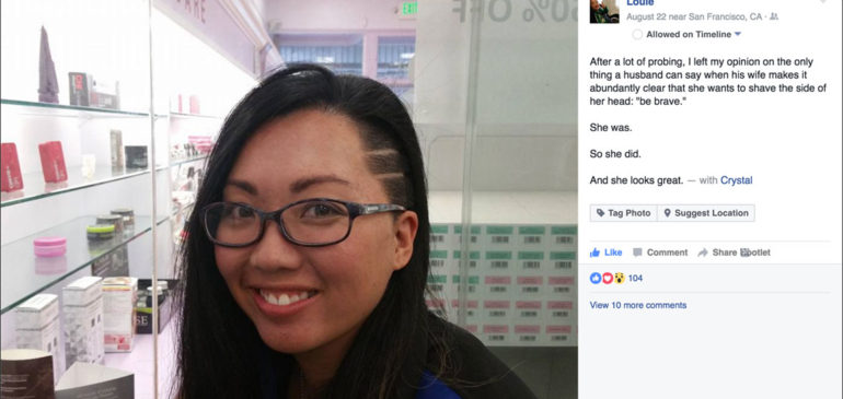 Louie's FB post of Crystal's sidecut