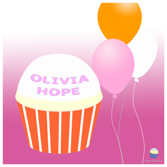 Olivia Hope's 1st birthday remembrance cupcake.